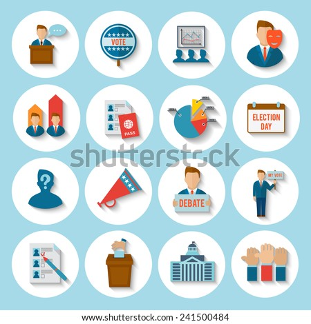 Election president voting debate icon flat set isolated vector illustration - stock vector