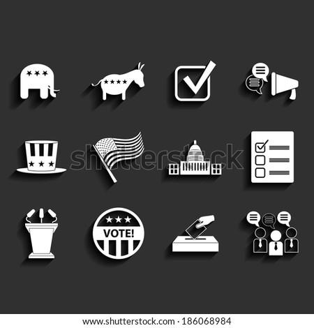Election vector retro flat icons - stock vector