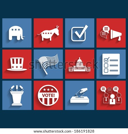 Election vector retro flat icons - stock vector