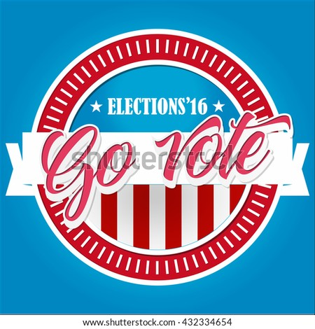 Election Voting Sticker and Badge in USA red, white and blue