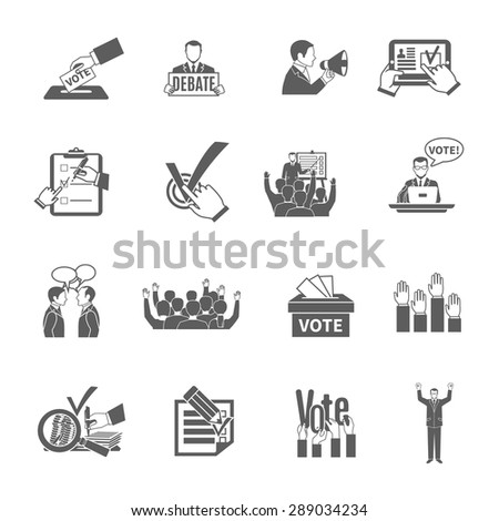 Elections and voting flat grey icons set isolated vector illustration - stock vector