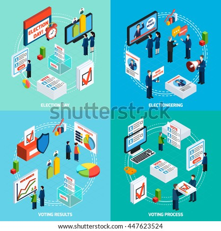 Elections and voting isometric 2x2 design concept with people busy in electioneering debate and voting process flat vector illustration - stock vector