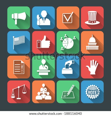 Elections and voting long shadow icons set of hand symbol president speech campaigning megaphone isolated vector illustration - stock vector