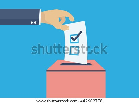 Elections voting, politics and elections illustration, hand dropping vote - stock vector