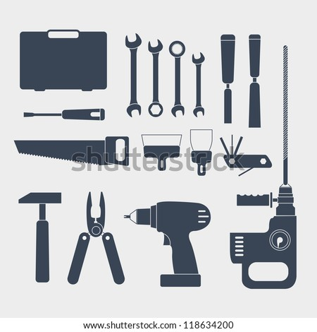 Electric and handy tool silhouettes - stock vector