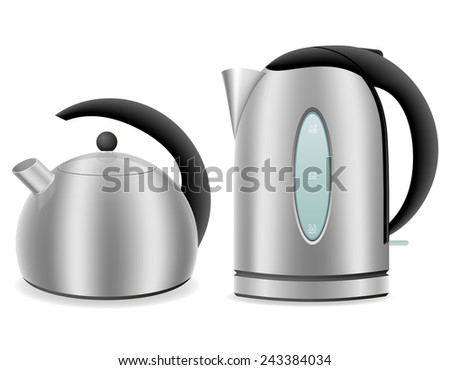 electric and kettle for gas cooker vector illustration isolated on white background - stock vector