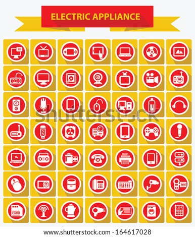 Electric appliance icons,Red and Yellow version,vector - stock vector
