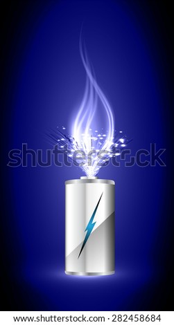 electric battery energy, vector illustration, dark blue Light Abstract Technology background for computer graphic website internet. wave. silver. fire. ray.scintillate, spark,sparkle.aura.flame.flame. - stock vector