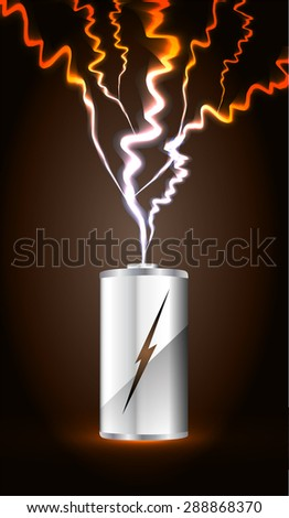 electric battery energy, vector illustration, dark brown Light Abstract Technology background for computer graphic website internet. wave. silver. circuit. spark. bolt. thunderbolt. thunder - stock vector