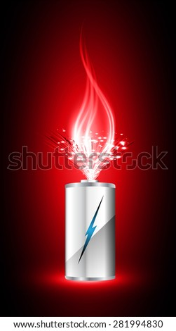electric battery energy, vector illustration, dark red Light Abstract Technology background for computer graphic website internet. wave. silver. fire. ray.scintillate, spark,sparkle.aura.flame.flame. - stock vector