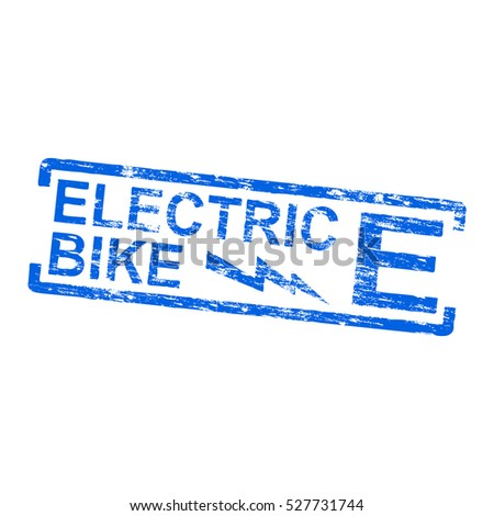Electric bike grungy rubber stamp vector illustration