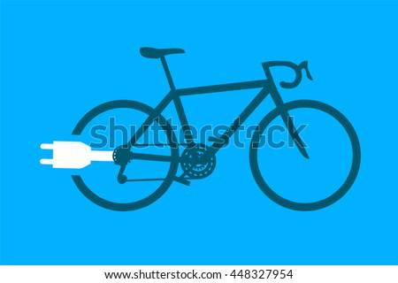 electric bike symbol - stock vector