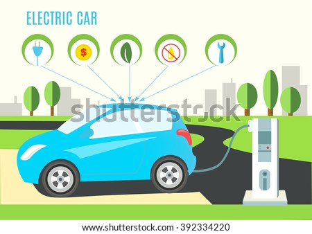 Electric Blue Hybrid Car Charging Illustration on the Road and City Landscape. Icons with plug, money, eco, oil and wrench. Vector flat style infographic. - stock vector