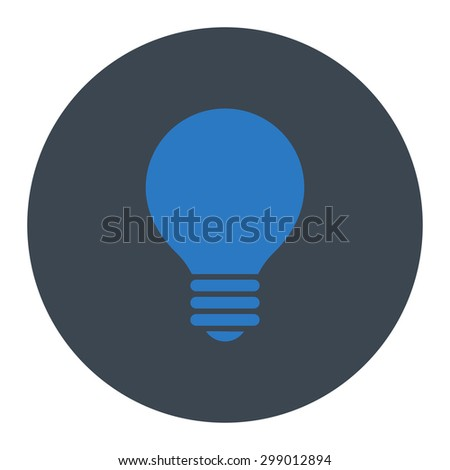 Electric Bulb icon from Primitive Round Buttons OverColor Set. This round flat button is drawn with smooth blue colors on a white background. - stock vector