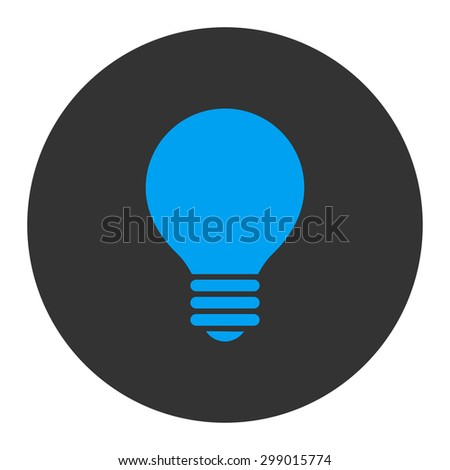 Electric Bulb icon from Primitive Round Buttons OverColor Set. This round flat button is drawn with blue and gray colors on a white background. - stock vector