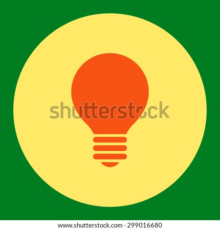 Electric Bulb icon from Primitive Round Buttons OverColor Set. This round flat button is drawn with orange and yellow colors on a green background. - stock vector