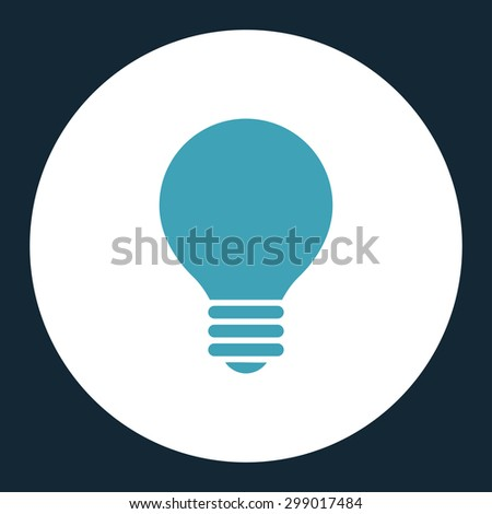 Electric Bulb icon from Primitive Round Buttons OverColor Set. This round flat button is drawn with blue and white colors on a dark blue background. - stock vector