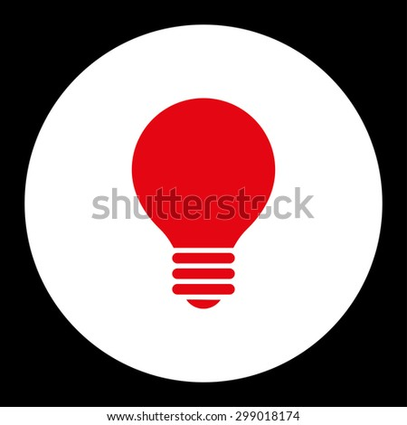 Electric Bulb icon from Primitive Round Buttons OverColor Set. This round flat button is drawn with red and white colors on a black background. - stock vector