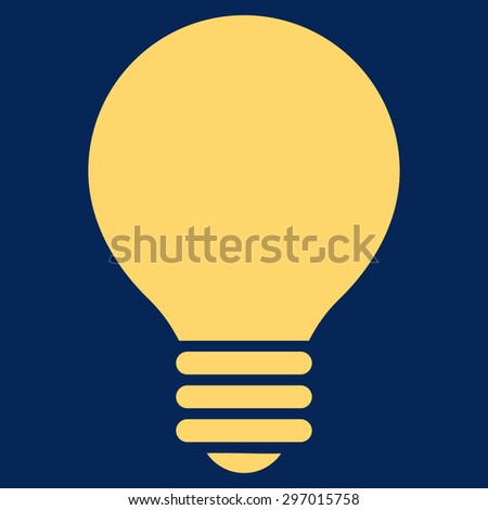 Electric Bulb icon from Primitive Set. This isolated flat symbol is drawn with yellow color on a blue background, angles are rounded. - stock vector
