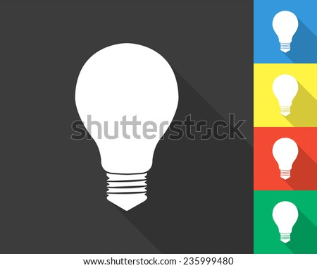 electric bulb icon - gray and colored (blue, yellow, red, green) vector illustration with long shadow - stock vector