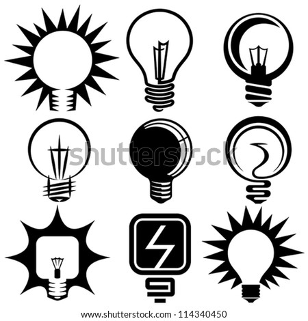 electric bulb symbols and icons set - stock vector