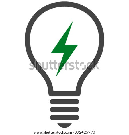 Electric Bulb vector icon. Electric Bulb icon symbol. Electric Bulb icon image. Electric Bulb icon picture. Electric Bulb pictogram. Flat green and gray electric bulb icon. - stock vector