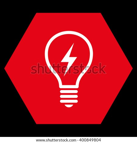 Electric Bulb vector icon. Image style is bicolor flat electric bulb icon symbol drawn on a hexagon with red and white colors. - stock vector
