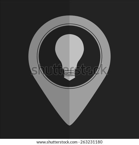 Electric bulb vector icon - map pointer. Flat design - stock vector