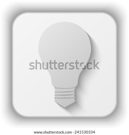 electric bulb vector icon - paper button  - stock vector