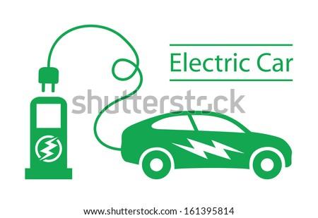 Electric car - stock vector