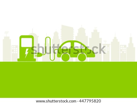 Electric car and Electric charging station with city background for Eco friendly concept, Vector illustration - stock vector