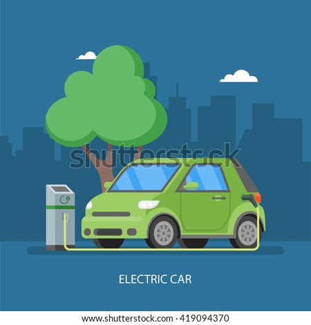 Electric car charging at the charger station. Vector illustration in flat style. Eco transport concept background. - stock vector