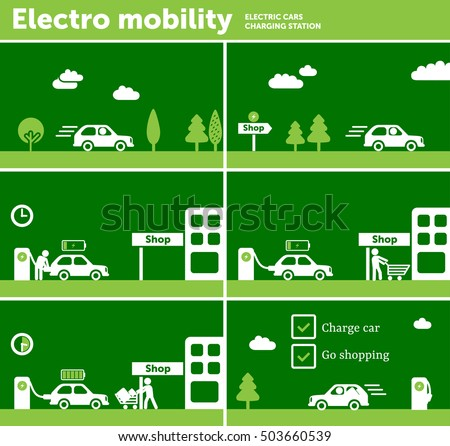 Electric car charging station near shop stock vector for Electric motor shop near me