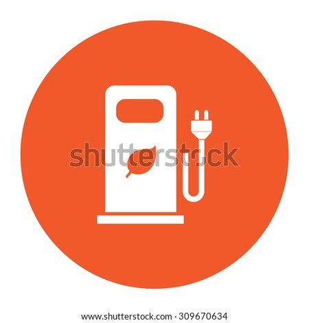 Electric car charging station or Bio fuel petrol. Flat white symbol in the orange circle. Vector illustration icon - stock vector