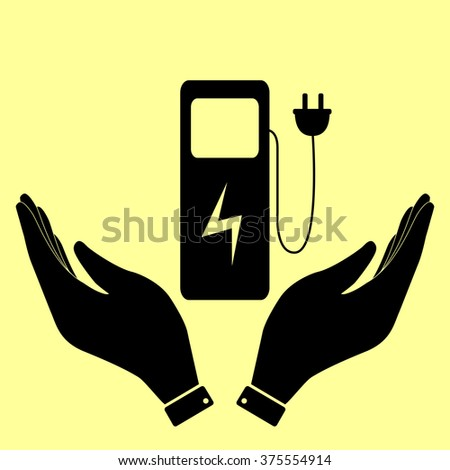 Electric car charging station sign. Flat style icon vector illustration. - stock vector