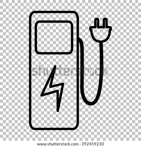 Electric car charging station sign. Line icon on transparent background - stock vector