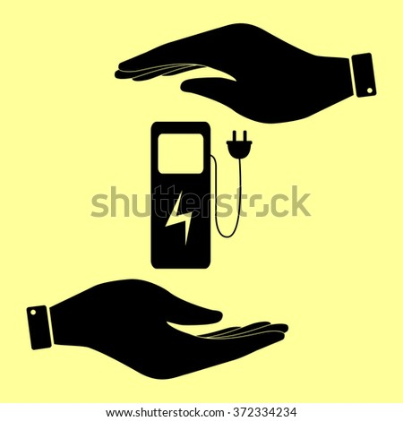 Electric car charging station sign. Save or protect symbol by hands. - stock vector