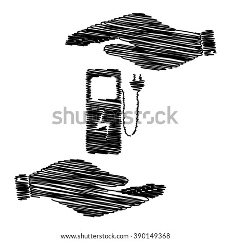 Electric car charging station sign. Save or protect symbol by hands with scribble effect. - stock vector