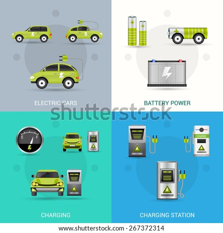 Electric car design concept set with battery power charging station flat icons isolated vector illustration - stock vector