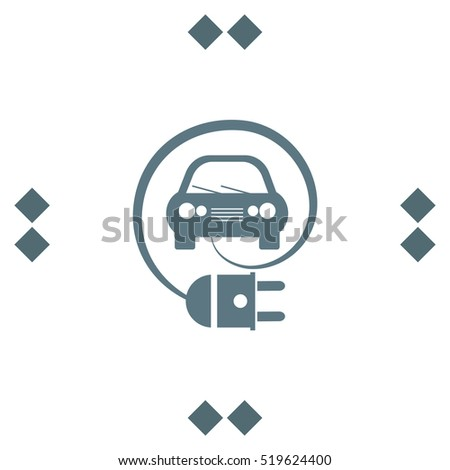 Electric Car Eco Friendly Concept vector icon. Clean energy symbol.