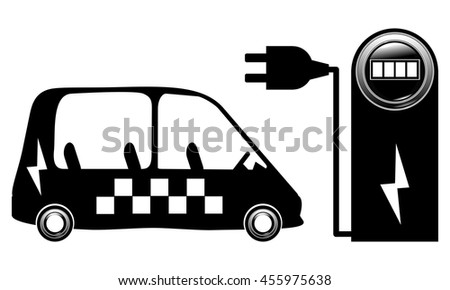 electric car ecological taxi near a charging station 