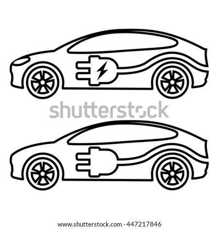 Electric Car Ev Line Icon Vector Stock Vector Shutterstock