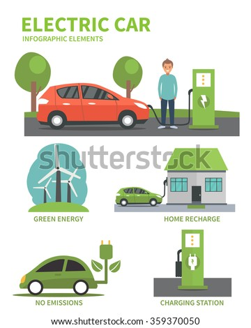 Electric car flat infographic elements. Man charging Electric car on charging station. Electric car infographic icons. Vector illustration isolated on white background. - stock vector