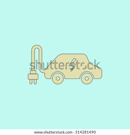 Electric Car Flat Simple Line Icon Stock Vector 314281490 - Shutterstock