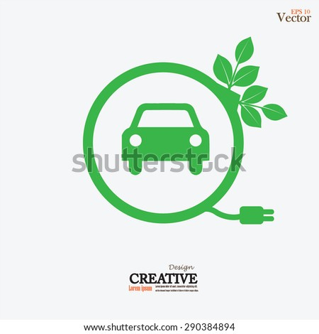 Electric car icon.eco car.vector illustration. - stock vector