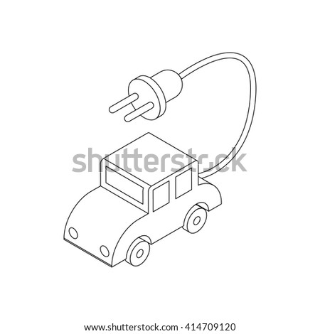 Electric car icon, isometric 3d style - stock vector