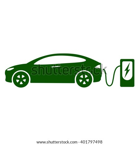 Electric car icon Vector Illustration. Side view of electric car and charging station - stock vector