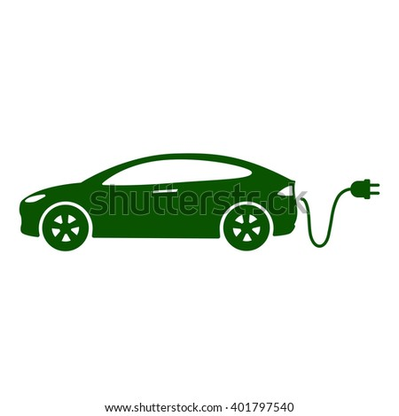Electric car icon Vector Illustration. Side view of electric car, cable and plug - stock vector