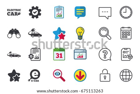 Electric Car Icons Sedan Hatchback Transport Stock Vector - Car signs and symbols