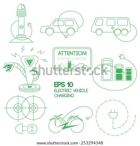 Electric car logo in green color. Vector illustration. - stock vector